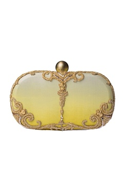 White & yellow ombre zardozi clutch