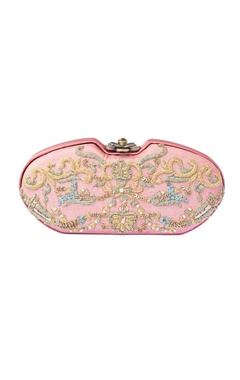 Blush pink hand embroidered clutch