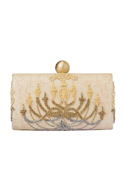 Champagne embroidered clutch