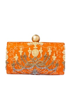 Rust hand embroidered clutch