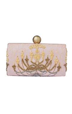 Blush pink beaded clutch