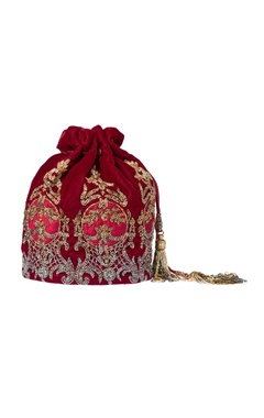 berry red embroidered potli clutch