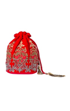 Red embroidered potli clutch