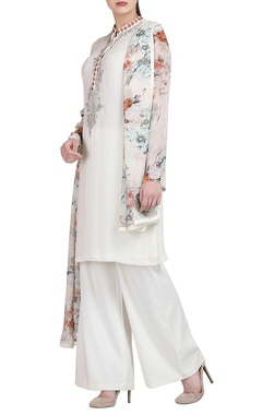 White embroidered kurta with trousers & dupatta