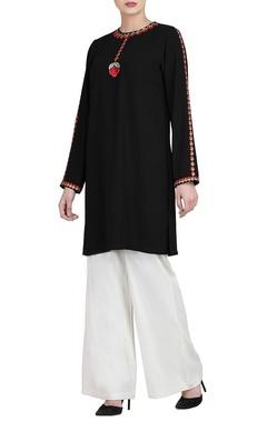 Black embroidered kurta & white trousers