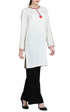 White embroidered kurta & black trousers