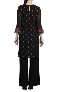 Black floral kurta & wide-legged trousers