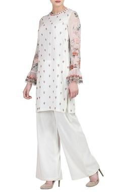 Varun Bahl white floral kurta & wide-legged trousers