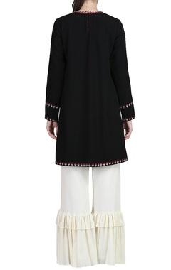 black embroidered kurta & ivory ruffle pants