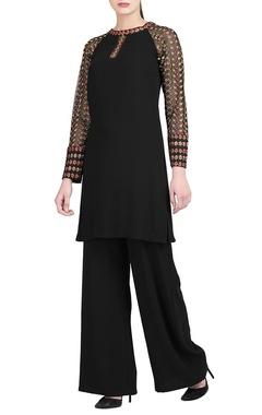 Black kurta with sheer sleeves & trousers