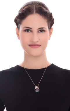 rose gold sterling necklace with hamsa pendant with multicolour swaroski crusyals