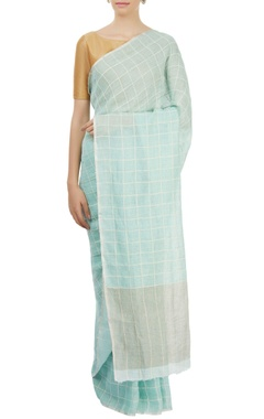 Light blue plaid sari