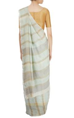 light blue striped sari