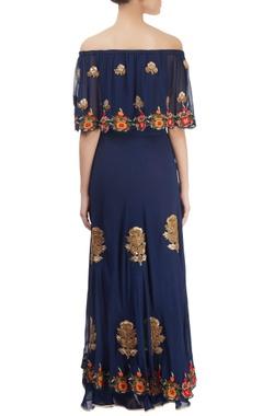 navy blue embroidered skirt set