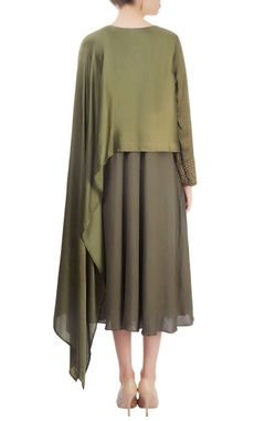 Olive green layered dress