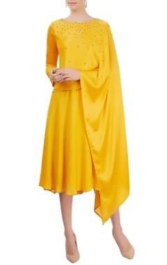 Mayank Anand Shraddha Nigam Mustard yellow layered dress