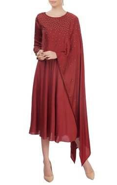 Mayank Anand Shraddha Nigam Brick red layered dress
