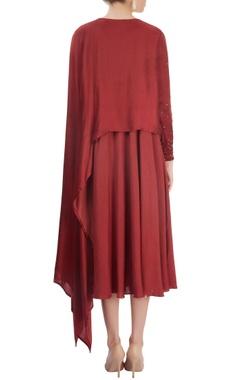 Brick red layered dress