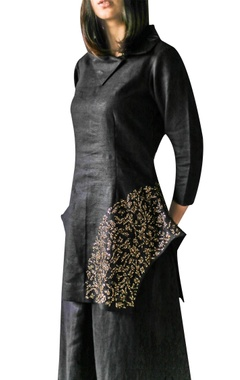 black asymmetric embellished tunic