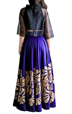 purple applique skirt & black crop top