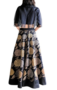black applique skirt with crop top