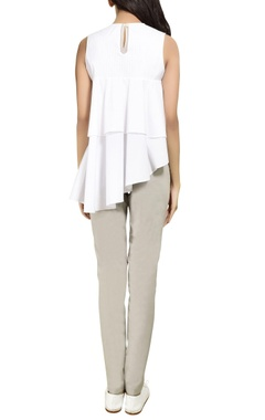 White asymmetric ruffle top