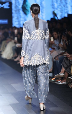 rustic blue floral work kurta with tulip pants