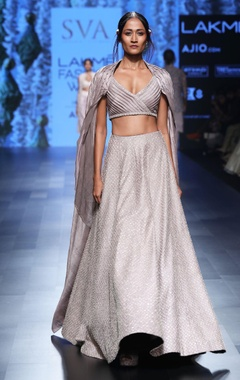 Shadow grey embroidered lehenga with pleated blouse