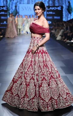 deep red bead embroidery lehenga & blouse