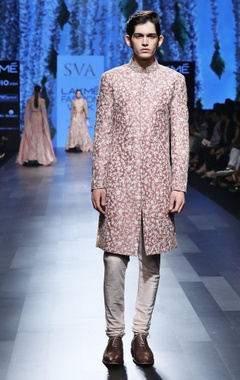 Rose pink embroidered sherwani set