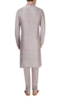 Shadow grey & burgundy kurta set