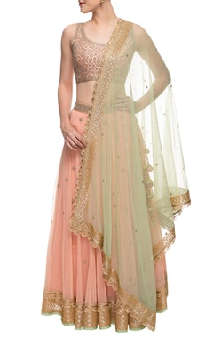 Blush pink & light green embroidered lehenga set