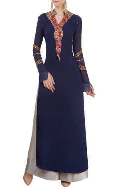 navy blue embroidered long kurta