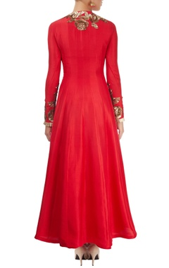 Cherry red embroidered anarkali set