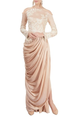 Old rose draped gown