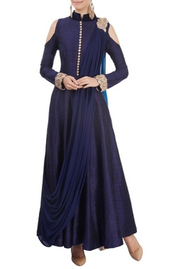 Navy blue cold-shoulder kurta set