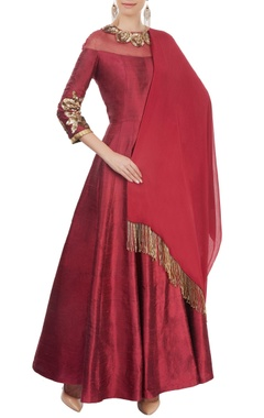 Ox-blood embellished anarkali set