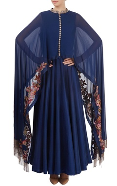 navy blue cape anarkali