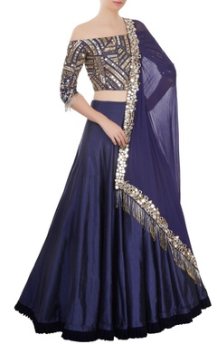 navy blue mirror work lehenga set