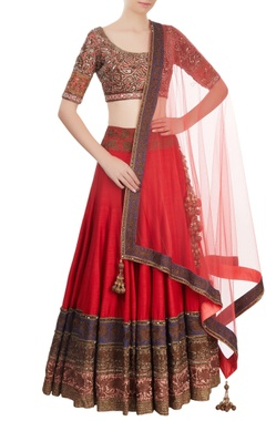 Red & coral embroidered lehenga set