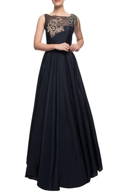 Navy blue flared gown with leave motif, zardozi and crystal