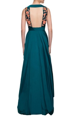Teal blue gown with gota patti work