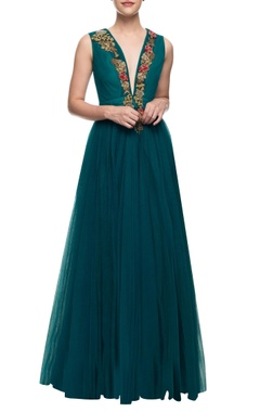 Aharin Teal floor length gown with floral embroidery on the yoke.