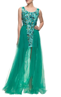Aharin Turquoise floral embroidered dress with an attached net trail