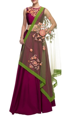Aharin Plum embroidered crop top and skirt with green dupatta