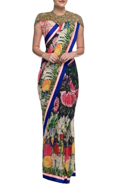Aharin Multicolour printed sari with pink embroidered blouse