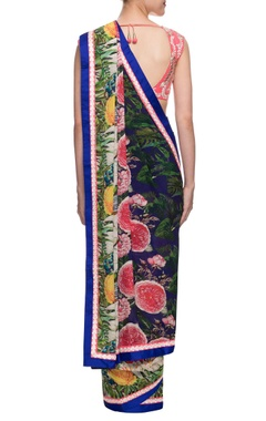 Multicolour printed sari with pink embroidered blouse