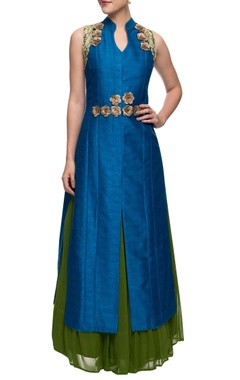Aharin Teal blue and green rose motif achkan