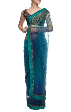Blue and green shaded sari with leaf embroidered blouse