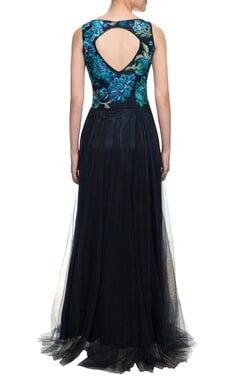 Blue and black gown with resham work on the yoke